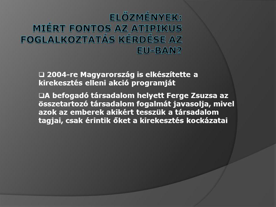  2004-re Magyarország is elkészítette a kirekesztés elleni akció programját  A befogadó társadalom helyett Ferge Zsuzsa az összetartozó társadalom fogalmát javasolja, mivel azok az emberek akikért tesszük a társadalom tagjai, csak érintik őket a kirekesztés kockázatai