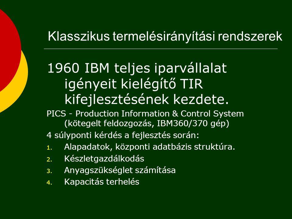 1960 IBM teljes iparvállalat igényeit kielégítő TIR kifejlesztésének kezdete.