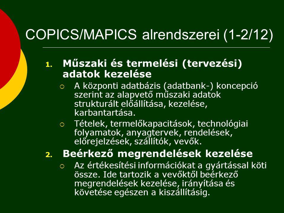 COPICS/MAPICS modulok 1. Műszaki és tervezési adatok kezelése 2. Beérkező megrendelések kezelése 3. Piaci előrejelzések 4. Nagyvonalú gyártási főprogr