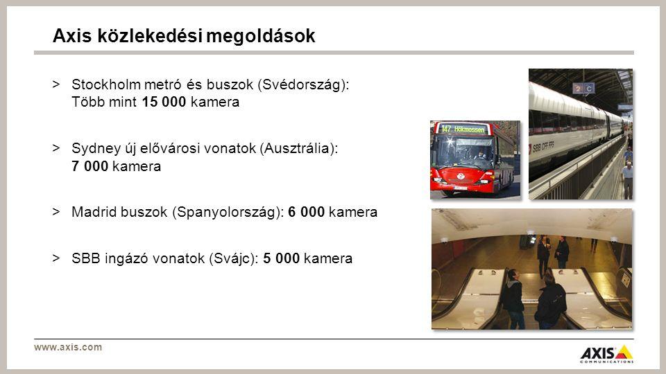 www.axis.com >Stockholm metró és buszok (Svédország): Több mint 15 000 kamera >Sydney új elővárosi vonatok (Ausztrália): 7 000 kamera >Madrid buszok (Spanyolország): 6 000 kamera >SBB ingázó vonatok (Svájc): 5 000 kamera Axis közlekedési megoldások
