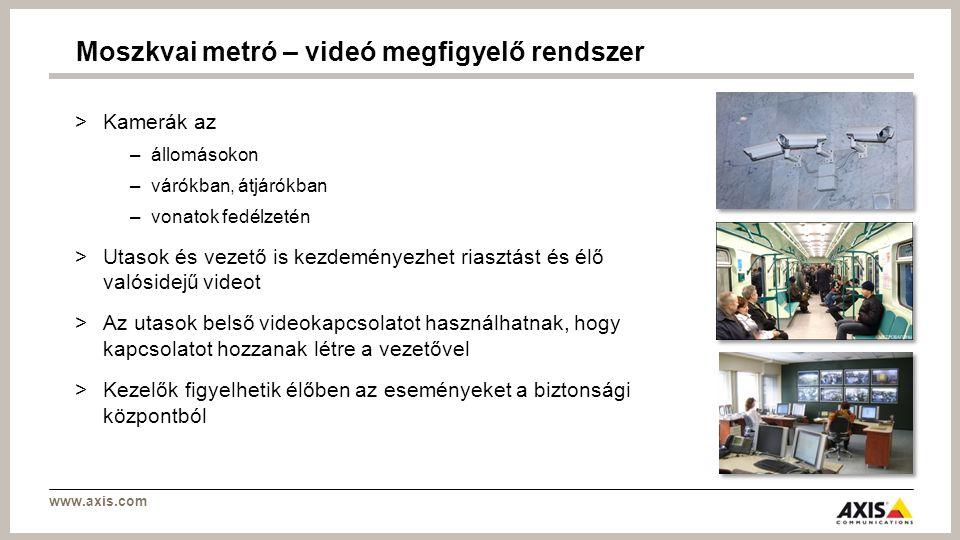 www.axis.com >Kamerák az –állomásokon –várókban, átjárókban –vonatok fedélzetén >Utasok és vezető is kezdeményezhet riasztást és élő valósidejű videot >Az utasok belső videokapcsolatot használhatnak, hogy kapcsolatot hozzanak létre a vezetővel >Kezelők figyelhetik élőben az eseményeket a biztonsági központból Moszkvai metró – videó megfigyelő rendszer