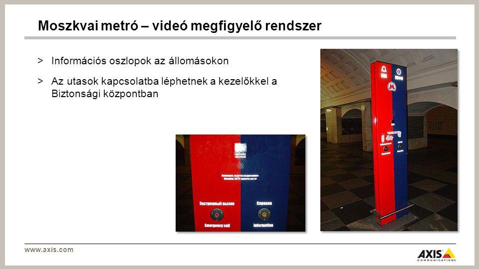www.axis.com >Információs oszlopok az állomásokon >Az utasok kapcsolatba léphetnek a kezelőkkel a Biztonsági központban Moszkvai metró – videó megfigyelő rendszer