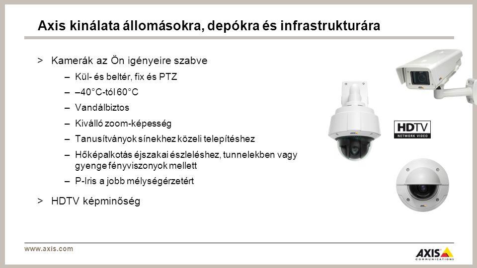 www.axis.com >Kamerák az Ön igényeire szabve –Kül- és beltér, fix és PTZ ––40°C-tól 60°C –Vandálbiztos –Kiválló zoom-képesség –Tanusítványok sínekhez közeli telepítéshez –Hőképalkotás éjszakai észleléshez, tunnelekben vagy gyenge fényviszonyok mellett –P-Iris a jobb mélységérzetért >HDTV képminőség Axis kinálata állomásokra, depókra és infrastrukturára