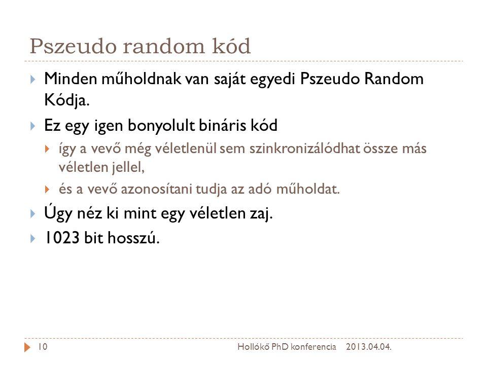 Pszeudo random kód  Minden műholdnak van saját egyedi Pszeudo Random Kódja.