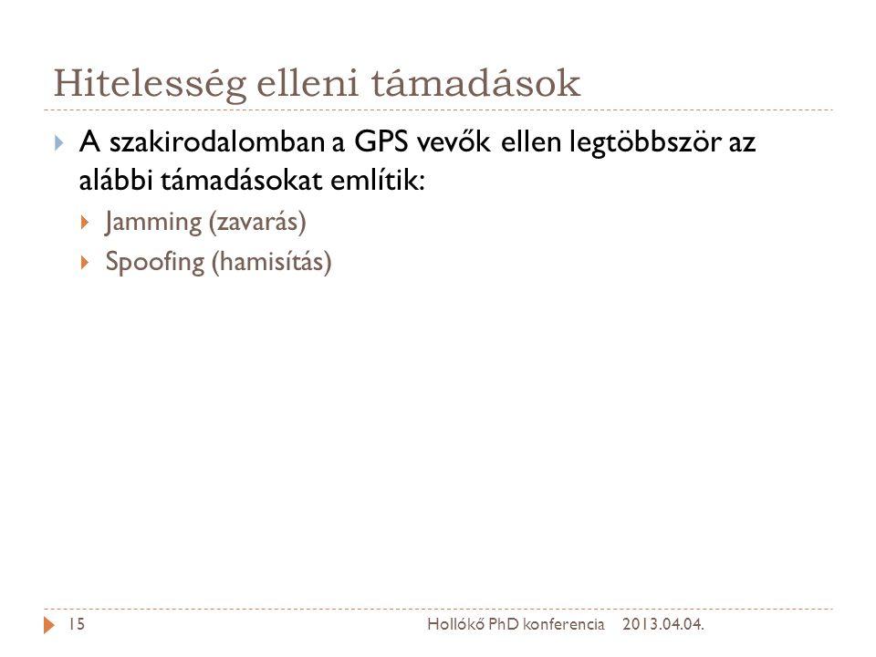 Hitelesség elleni támadások  A szakirodalomban a GPS vevők ellen legtöbbször az alábbi támadásokat említik:  Jamming (zavarás)  Spoofing (hamisítás) 2013.04.04.15Hollókő PhD konferencia