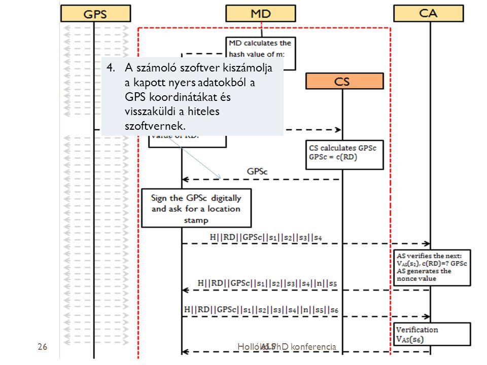 2013.04.04.26 4.A számoló szoftver kiszámolja a kapott nyers adatokból a GPS koordinátákat és visszaküldi a hiteles szoftvernek.