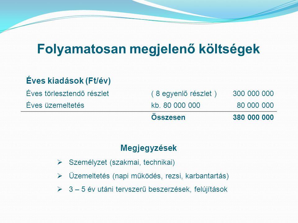 Folyamatosan megjelenő költségek Éves kiadások (Ft/év) Éves törlesztendő részlet( 8 egyenlő részlet )300 000 000 Éves üzemeltetéskb.
