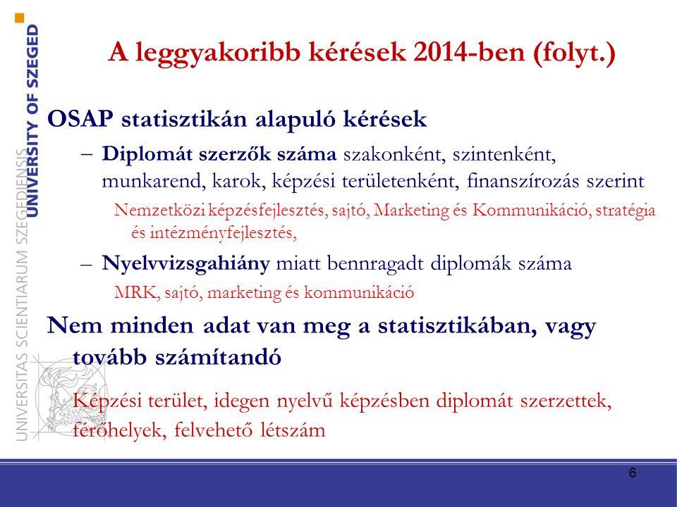 6 A leggyakoribb kérések 2014-ben (folyt.) OSAP statisztikán alapuló kérések  Diplomát szerzők száma szakonként, szintenként, munkarend, karok, képzé