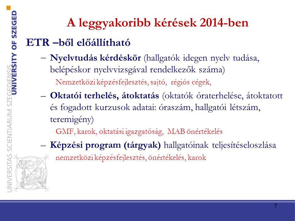 ETR –ből előállítható  Nyelvtudás kérdéskör (hallgatók idegen nyelv tudása, belépéskor nyelvvizsgával rendelkezők száma) Nemzetközi képzésfejlesztés,