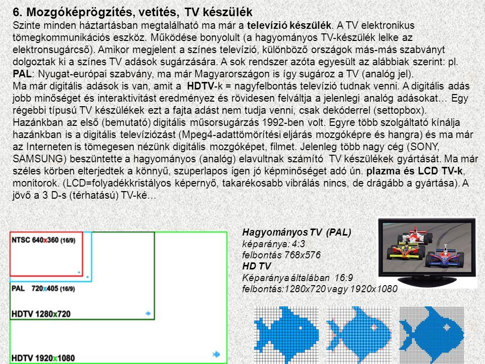 6. Mozgóképrögzítés, vetítés, TV készülék Szinte minden háztartásban megtalálható ma már a televízió készülék. A TV elektronikus tömegkommunikációs es