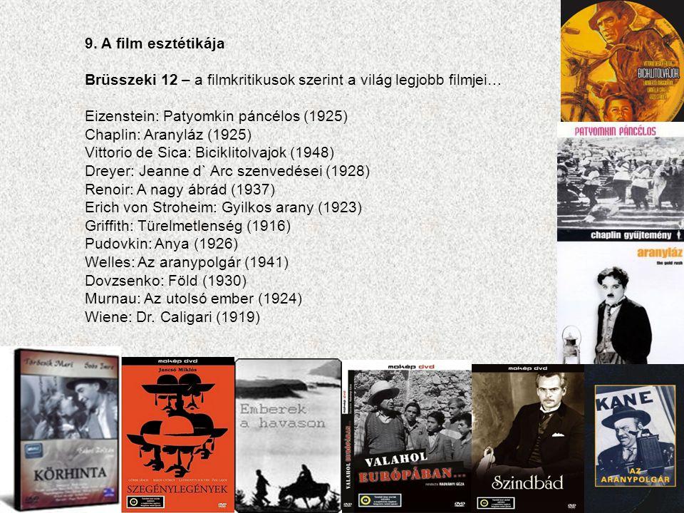 9. A film esztétikája Brüsszeki 12 – a filmkritikusok szerint a világ legjobb filmjei… Eizenstein: Patyomkin páncélos (1925) Chaplin: Aranyláz (1925)