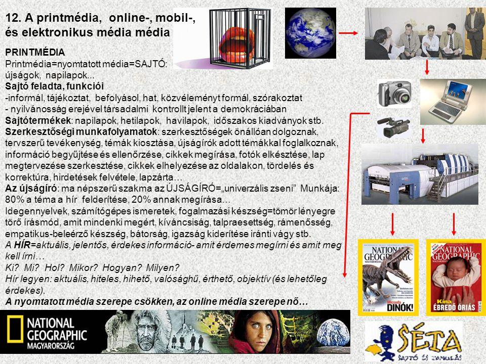 12. A printmédia, online-, mobil-, és elektronikus média média PRINTMÉDIA Printmédia=nyomtatott média=SAJTÓ: újságok, napilapok... Sajtó feladta, funk