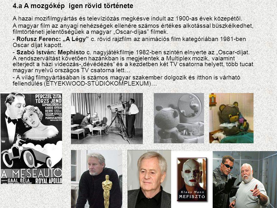 4.a A mozgókép igen rövid története A hazai mozifilmgyártás és televíziózás megkésve indult az 1900-as évek közepétől. A magyar film az anyagi nehézsé