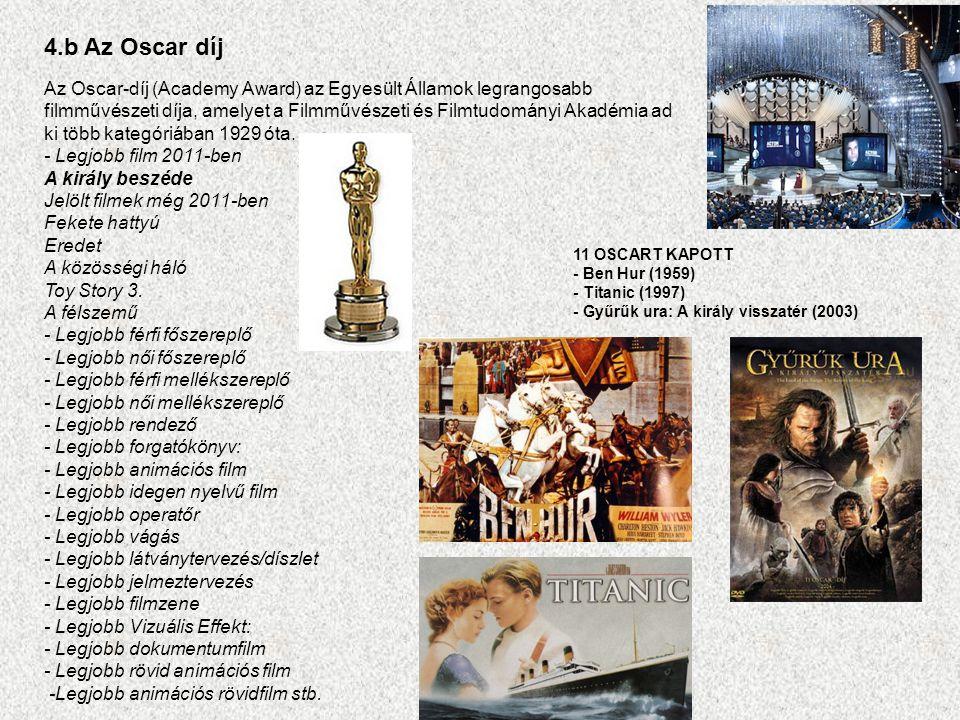 4.b Az Oscar díj Az Oscar-díj (Academy Award) az Egyesült Államok legrangosabb filmművészeti díja, amelyet a Filmművészeti és Filmtudományi Akadémia ad ki több kategóriában 1929 óta.