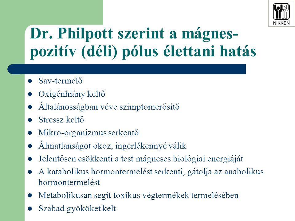 Dr. Philpott szerint a mágnes- pozitív (déli) pólus élettani hatás  Sav-termelő  Oxigénhiány keltő  Általánosságban véve szimptomerősítő  Stressz