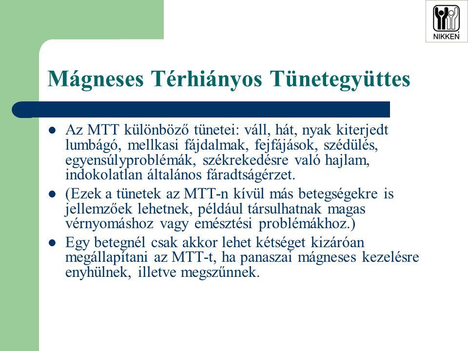 Mágneses Térhiányos Tünetegyüttes  Az MTT különböző tünetei: váll, hát, nyak kiterjedt lumbágó, mellkasi fájdalmak, fejfájások, szédülés, egyensúlyproblémák, székrekedésre való hajlam, indokolatlan általános fáradtságérzet.