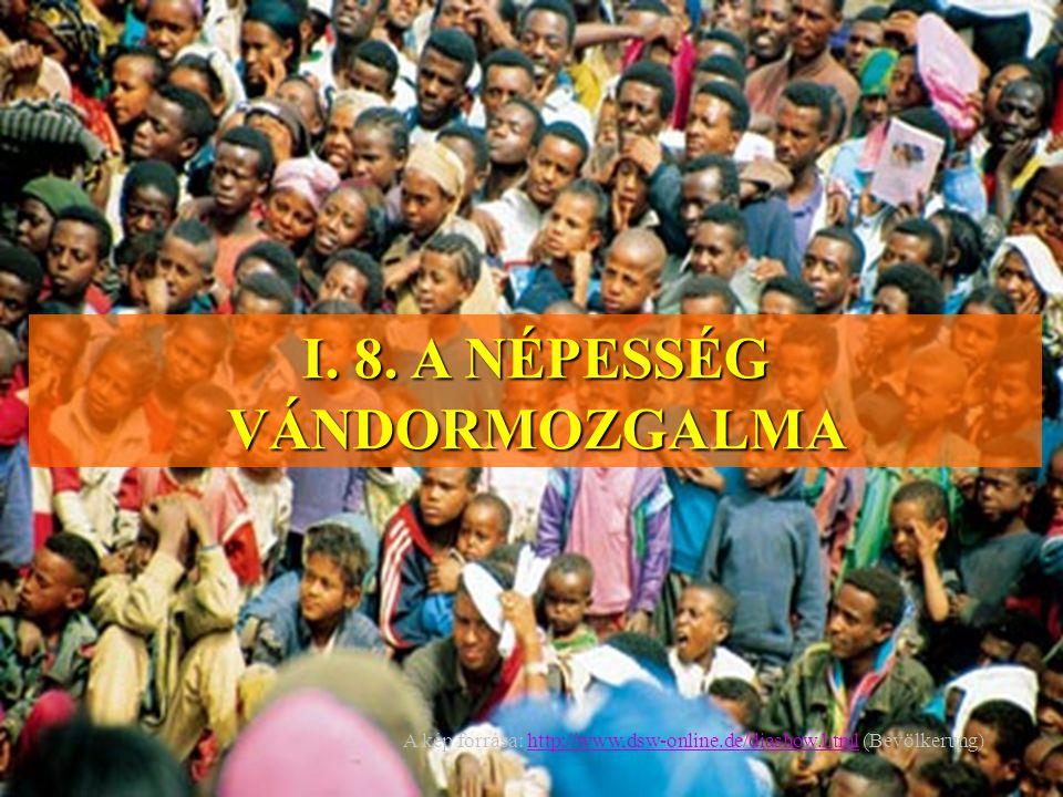 I. 8. A NÉPESSÉG VÁNDORMOZGALMA A kép forrása: http://www,dsw-online.de/diashow.html (Bevölkerung)http://www,dsw-online.de/diashow.html