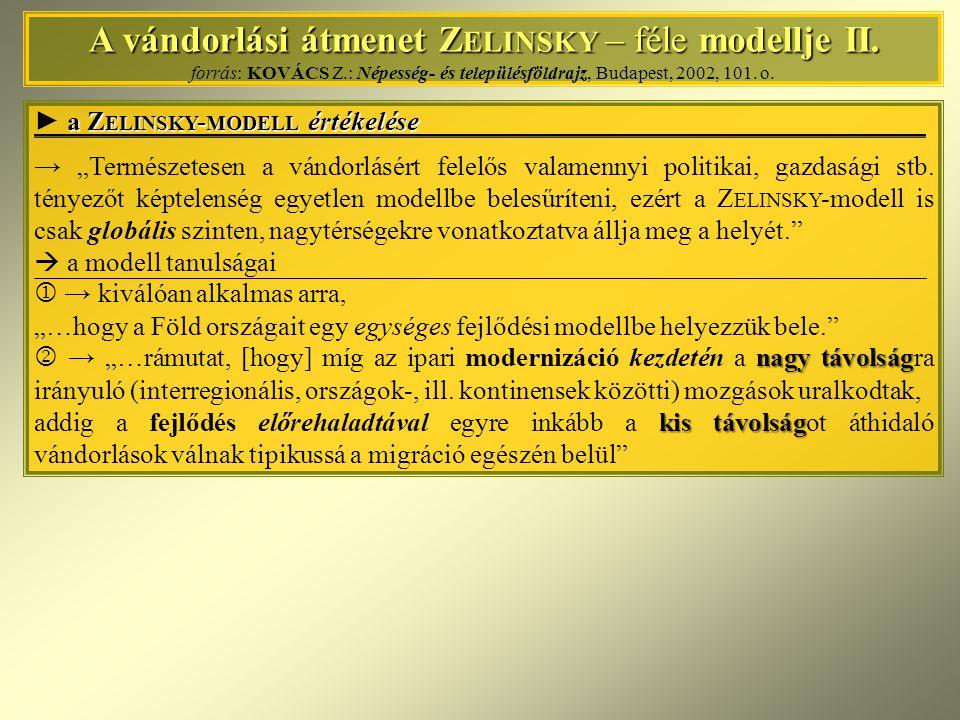 A vándorlási átmenet Z ELINSKY – féle modellje II. A vándorlási átmenet Z ELINSKY – féle modellje II. forrás: KOVÁCS Z.: Népesség- és településföldraj
