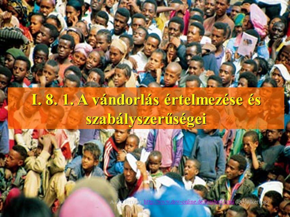 I. 8. 1. A vándorlás értelmezése és szabályszerűségei A kép forrása: http://www,dsw-online.de/diashow.html (Bevölkerung)http://www,dsw-online.de/diash