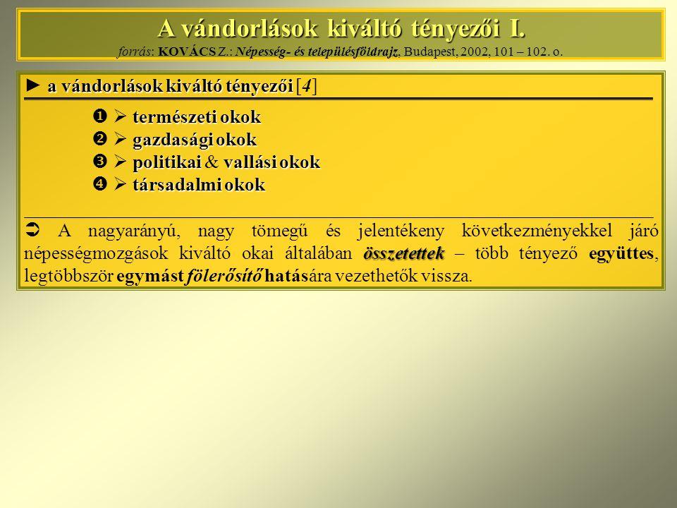 A vándorlások kiváltó tényezői I. A vándorlások kiváltó tényezői I. forrás: KOVÁCS Z.: Népesség- és településföldrajz, Budapest, 2002, 101 – 102. o. a