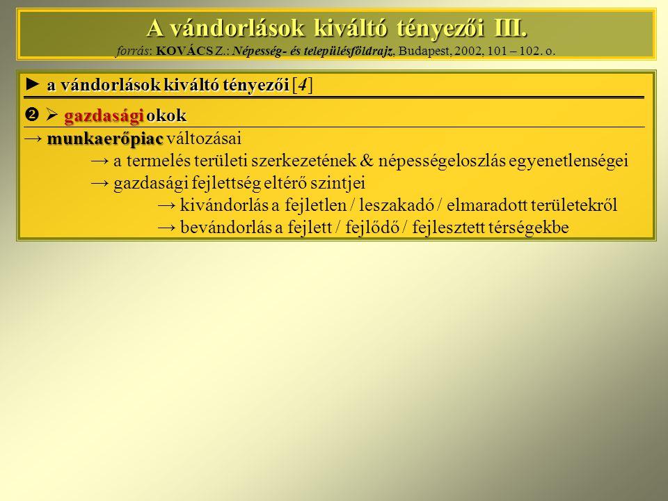 A vándorlások kiváltó tényezői III. A vándorlások kiváltó tényezői III. forrás: KOVÁCS Z.: Népesség- és településföldrajz, Budapest, 2002, 101 – 102.