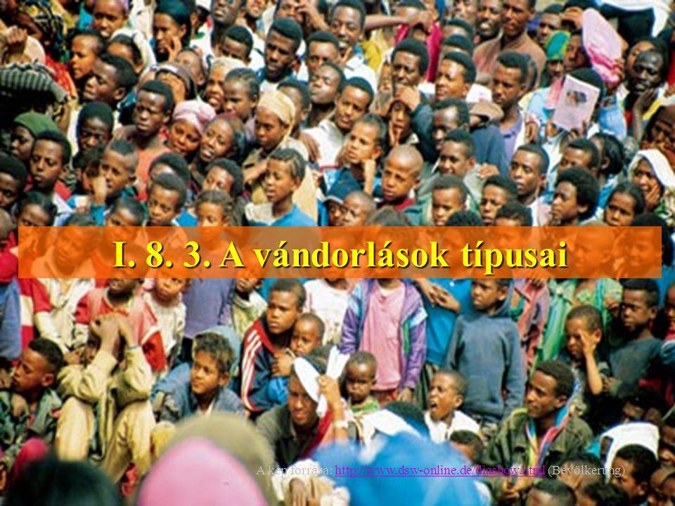 I. 8. 3. A vándorlások típusai A kép forrása: http://www,dsw-online.de/diashow.html (Bevölkerung)http://www,dsw-online.de/diashow.html
