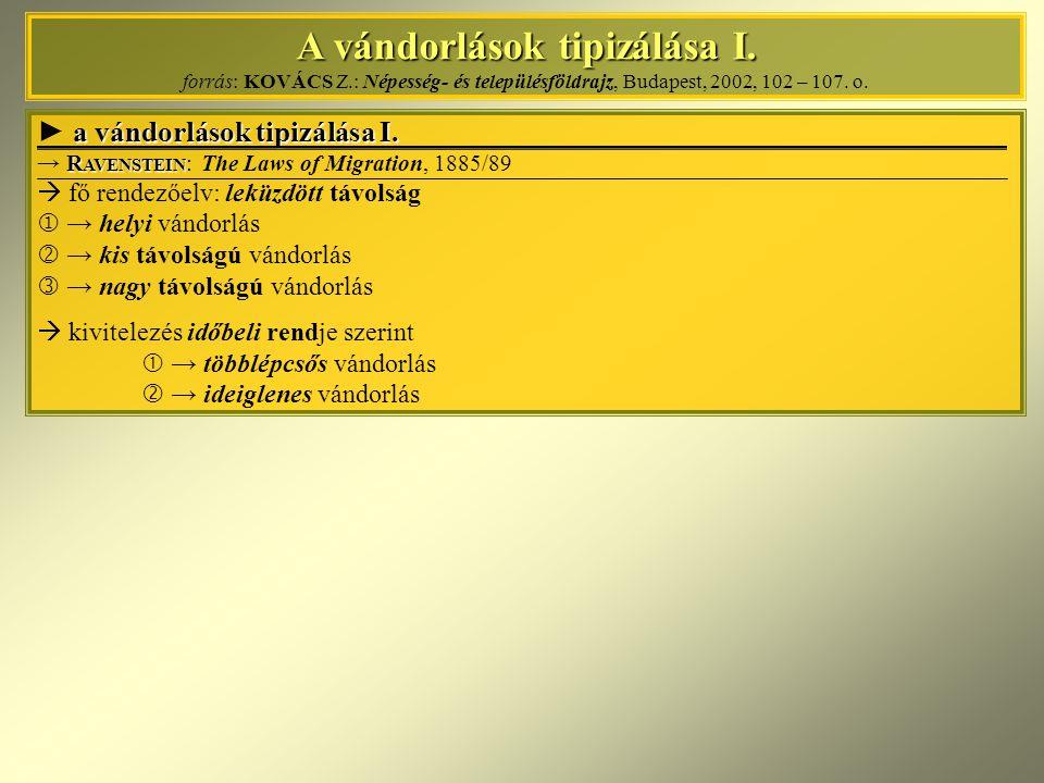 A vándorlások tipizálása I. A vándorlások tipizálása I. forrás: KOVÁCS Z.: Népesség- és településföldrajz, Budapest, 2002, 102 – 107. o. a vándorlások