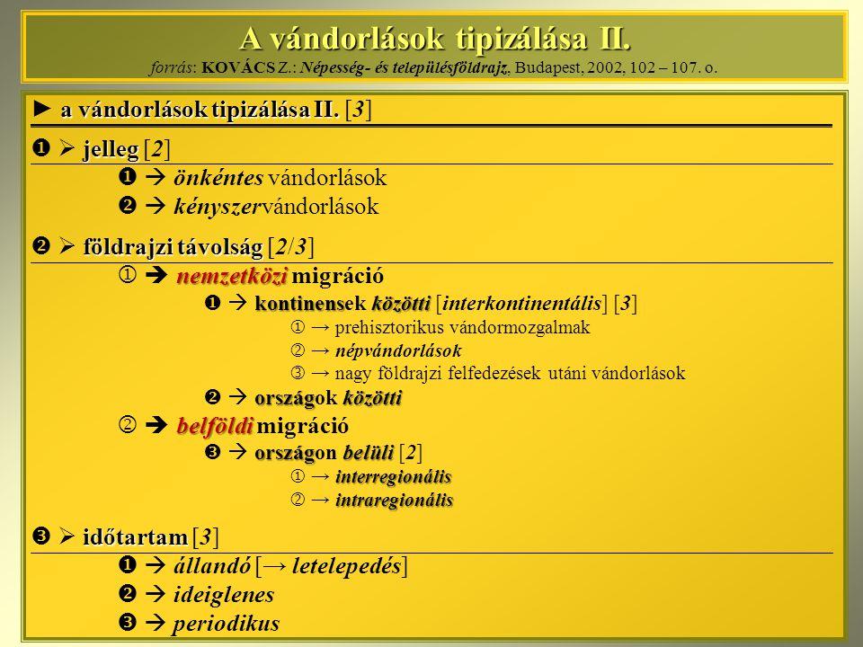 A vándorlások tipizálása II. A vándorlások tipizálása II. forrás: KOVÁCS Z.: Népesség- és településföldrajz, Budapest, 2002, 102 – 107. o. a vándorlás