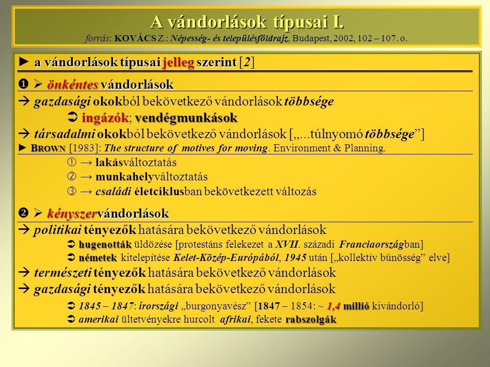A vándorlások típusai I. A vándorlások típusai I. forrás: KOVÁCS Z.: Népesség- és településföldrajz, Budapest, 2002, 102 – 107. o. a vándorlások típus