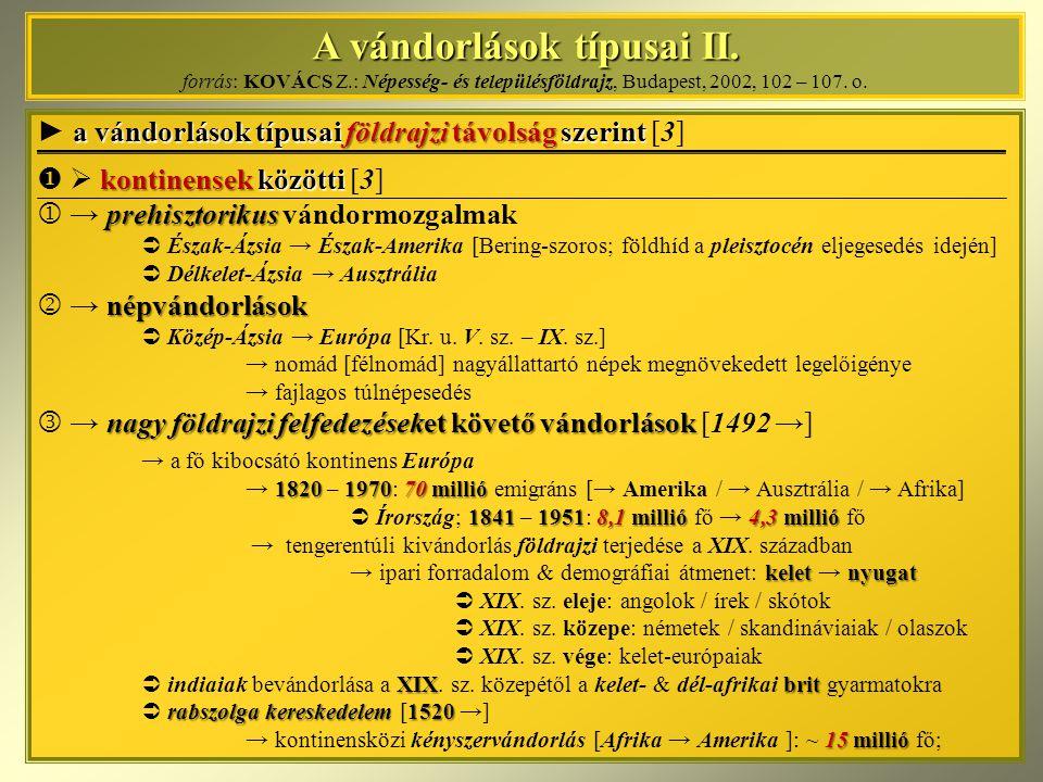 A vándorlások típusai II. A vándorlások típusai II. forrás: KOVÁCS Z.: Népesség- és településföldrajz, Budapest, 2002, 102 – 107. o. a vándorlások típ