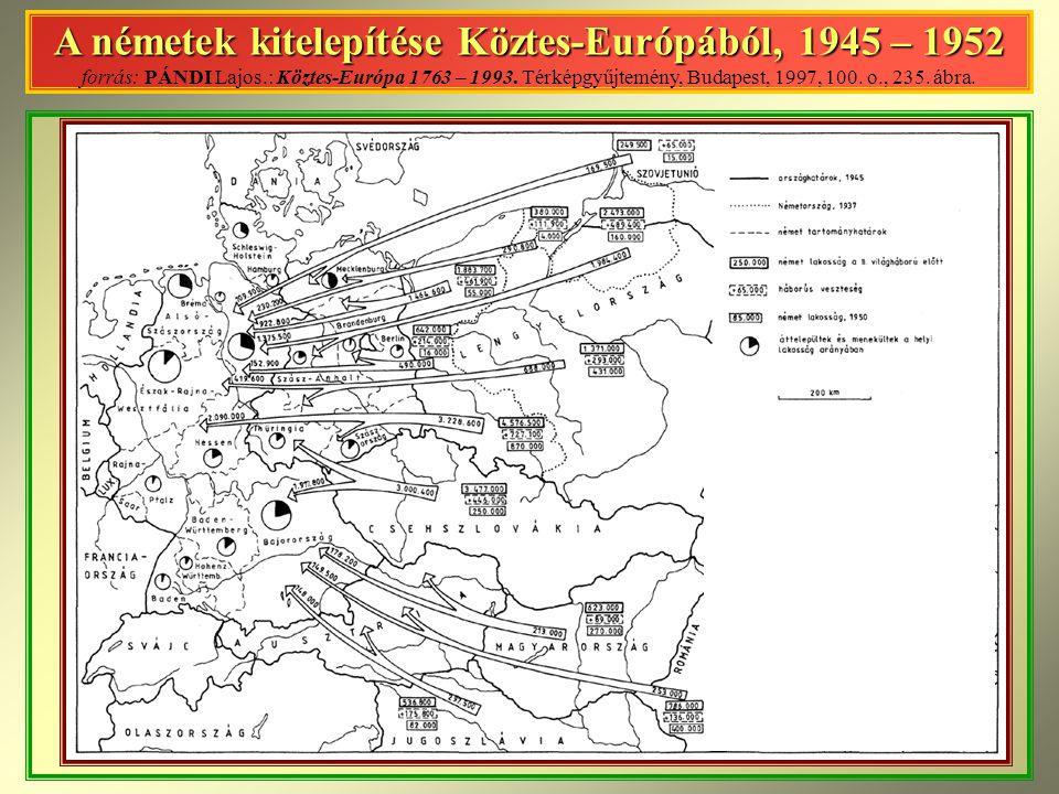 A németek kitelepítése Köztes-Európából, 1945 – 1952 forrás: PÁNDI Lajos.: Köztes-Európa 1763 – 1993. Térképgyűjtemény, Budapest, 1997, 100. o., 235.