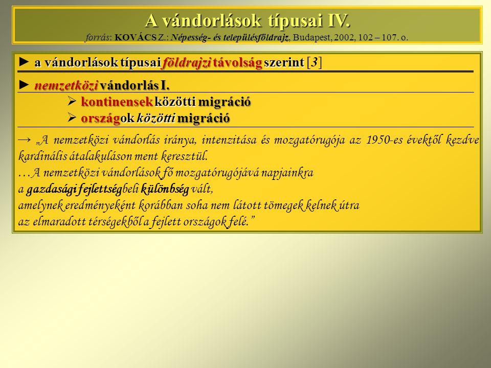 A vándorlások típusai IV. A vándorlások típusai IV. forrás: KOVÁCS Z.: Népesség- és településföldrajz, Budapest, 2002, 102 – 107. o. a vándorlások típ