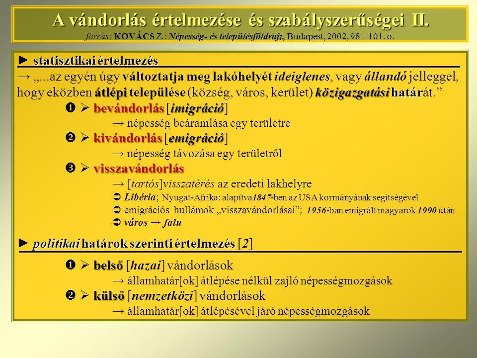 A vándorlás értelmezése és szabályszerűségei III.A vándorlás értelmezése és szabályszerűségei III.