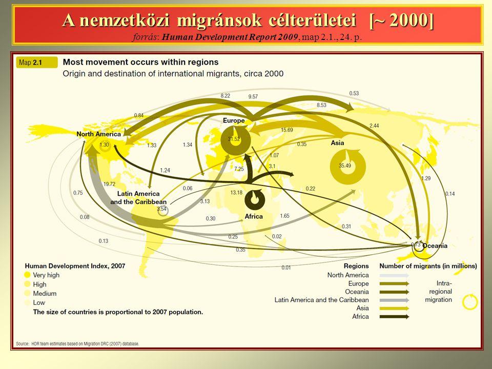 A nemzetközi migránsok célterületei [~ 2000] A nemzetközi migránsok célterületei [~ 2000] forrás: Human Development Report 2009, map 2.1., 24. p.