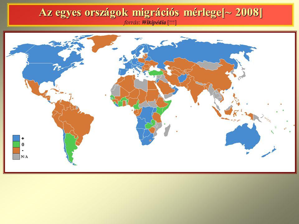 Az egyes országok migrációs mérlege[~ 2008] Az egyes országok migrációs mérlege[~ 2008] forrás: Wikipédia [!!!]
