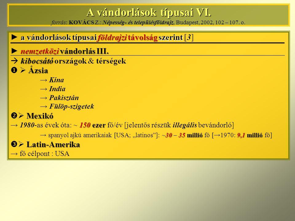 A vándorlások típusai VI. A vándorlások típusai VI. forrás: KOVÁCS Z.: Népesség- és településföldrajz, Budapest, 2002, 102 – 107. o. a vándorlások típ