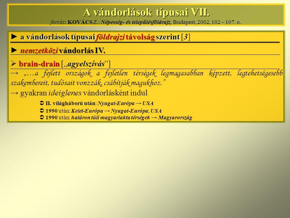 A vándorlások típusai VII. A vándorlások típusai VII. forrás: KOVÁCS Z.: Népesség- és településföldrajz, Budapest, 2002, 102 – 107. o. a vándorlások t