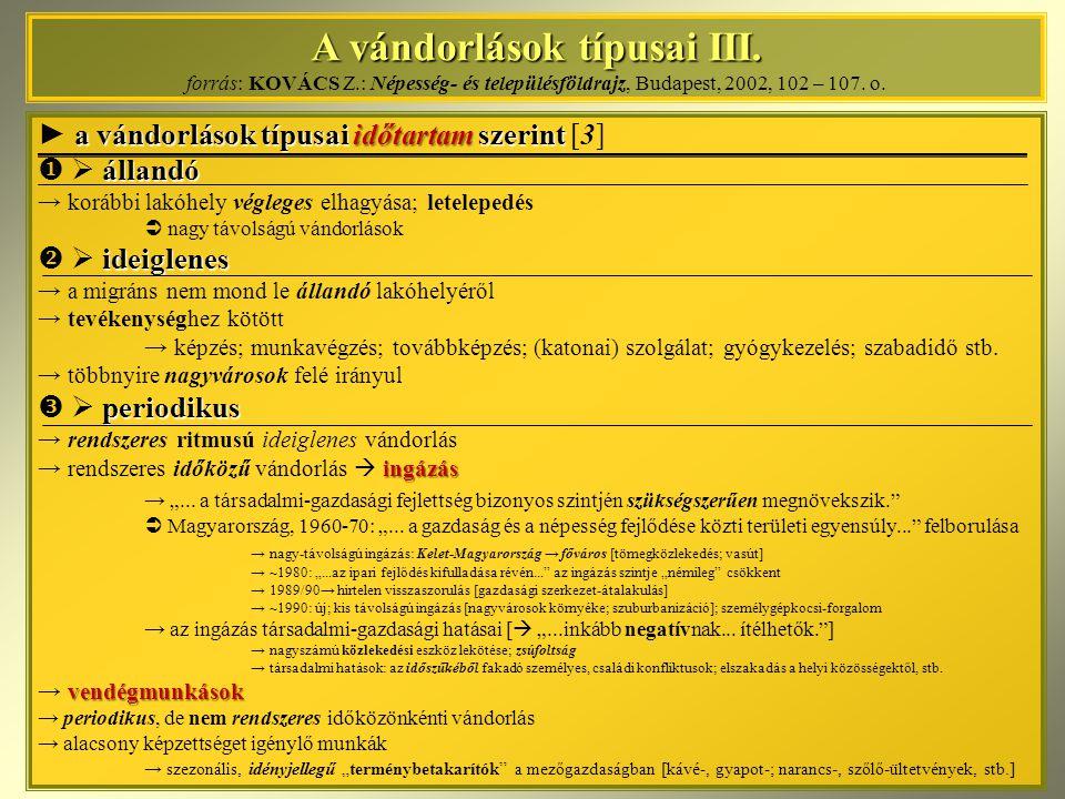 A vándorlások típusai III. A vándorlások típusai III. forrás: KOVÁCS Z.: Népesség- és településföldrajz, Budapest, 2002, 102 – 107. o. a vándorlások t
