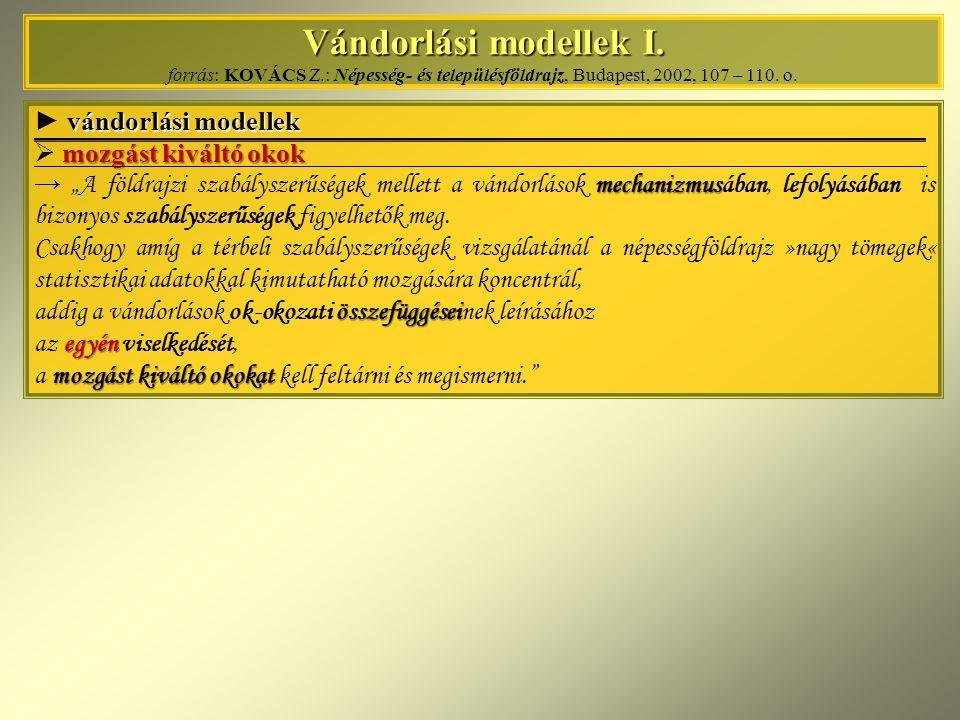 Vándorlási modellek I. Vándorlási modellek I. forrás: KOVÁCS Z.: Népesség- és településföldrajz, Budapest, 2002, 107 – 110. o. vándorlási modellek ► v