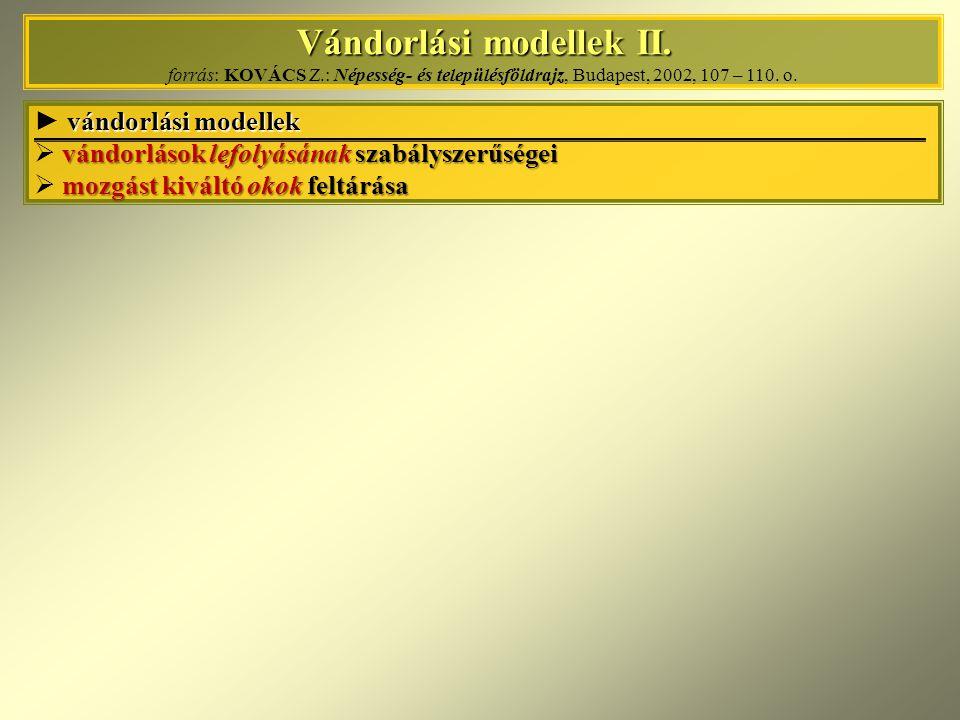 Vándorlási modellek II. Vándorlási modellek II. forrás: KOVÁCS Z.: Népesség- és településföldrajz, Budapest, 2002, 107 – 110. o. vándorlási modellek ►