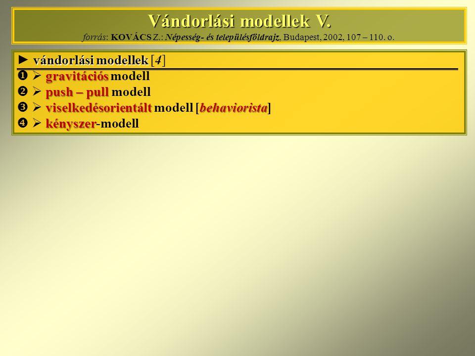 Vándorlási modellek V. Vándorlási modellek V. forrás: KOVÁCS Z.: Népesség- és településföldrajz, Budapest, 2002, 107 – 110. o. vándorlási modellek ► v
