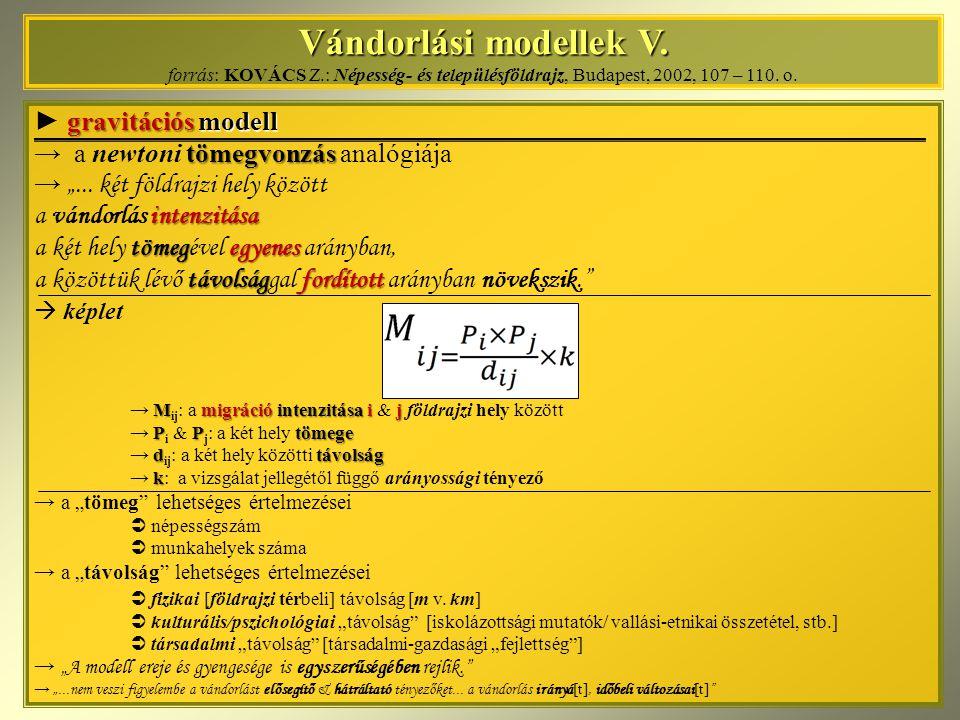 Vándorlási modellek V. Vándorlási modellek V. forrás: KOVÁCS Z.: Népesség- és településföldrajz, Budapest, 2002, 107 – 110. o. gravitációsmodell ► gra