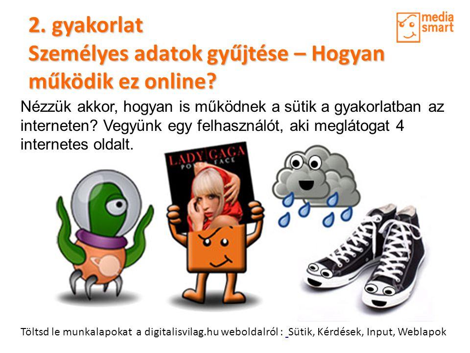 2. gyakorlat Személyes adatok gyűjtése – Hogyan működik ez online? Töltsd le munkalapokat a digitalisvilag.hu weboldalról : Sütik, Kérdések, Input, We