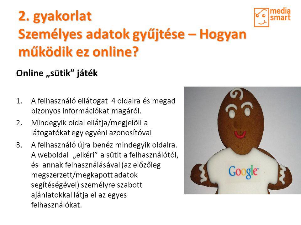 """Online """"sütik"""" játék 1.A felhasználó ellátogat 4 oldalra és megad bizonyos információkat magáról. 2.Mindegyik oldal ellátja/megjelöli a látogatókat eg"""