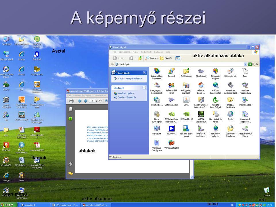 A képernyő részei