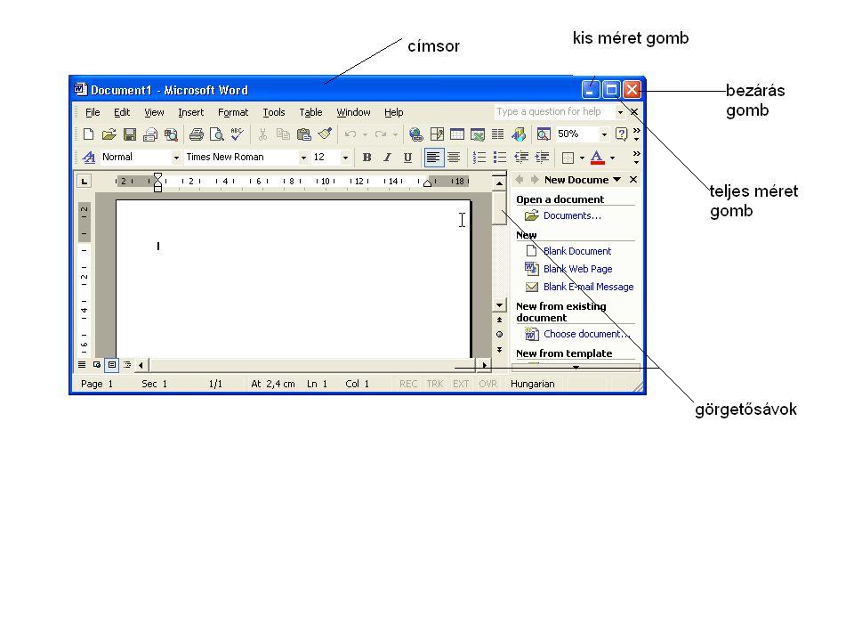 A programablak felépítése •1.Címsor: az ablak felső részén láthatjuk.