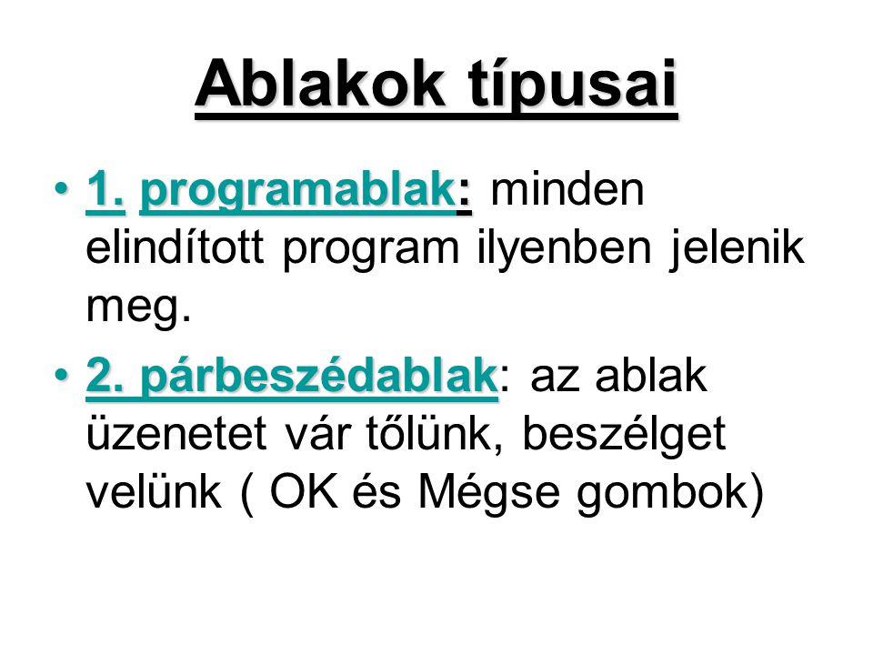 Ablakok típusai •1.programablak: •1. programablak: minden elindított program ilyenben jelenik meg. •2. párbeszédablak •2. párbeszédablak: az ablak üze