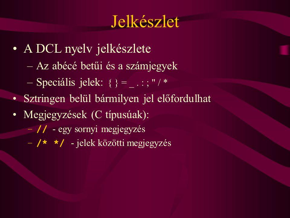 Jelkészlet •A DCL nyelv jelkészlete –Az abécé betűi és a számjegyek –Speciális jelek: { } = _.