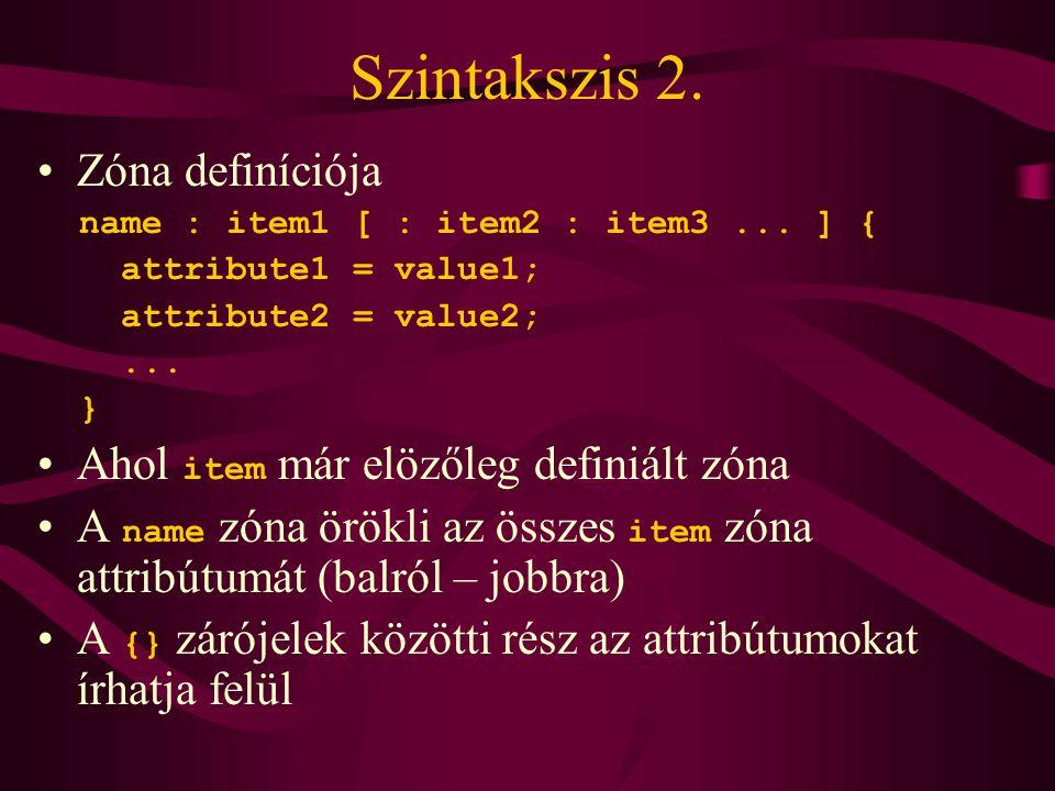Szintakszis 2. •Zóna definíciója name : item1 [ : item2 : item3...