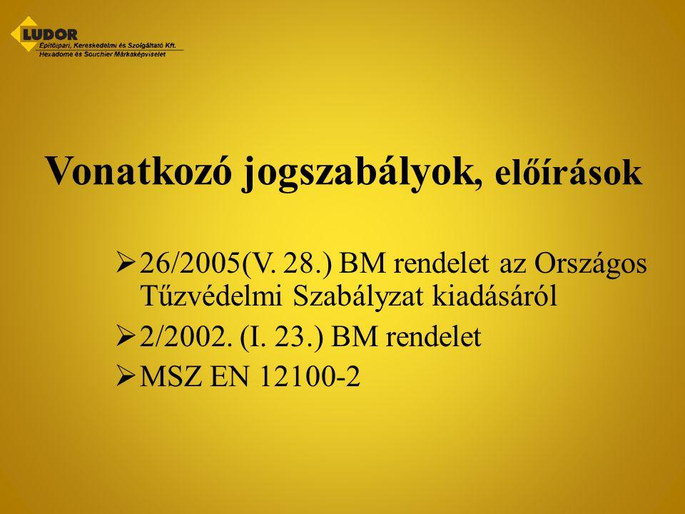 Vonatkozó jogszabályok, előírások  26/2005(V. 28.) BM rendelet az Országos Tűzvédelmi Szabályzat kiadásáról  2/2002. (I. 23.) BM rendelet  MSZ EN 1